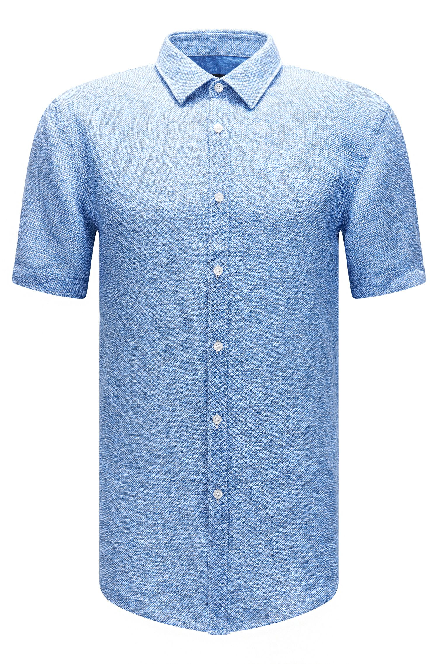 Linen Garment-Washed Button Down Shirt, Slim Fit | Ronn