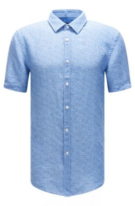 'Ronn' | Slim Fit, Linen Garment-Washed Button-Down Shirt, Blue