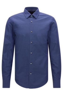 'T-Riccardo F' | Slim Fit, Italian Cotton Button Down Shirt, Dark Blue