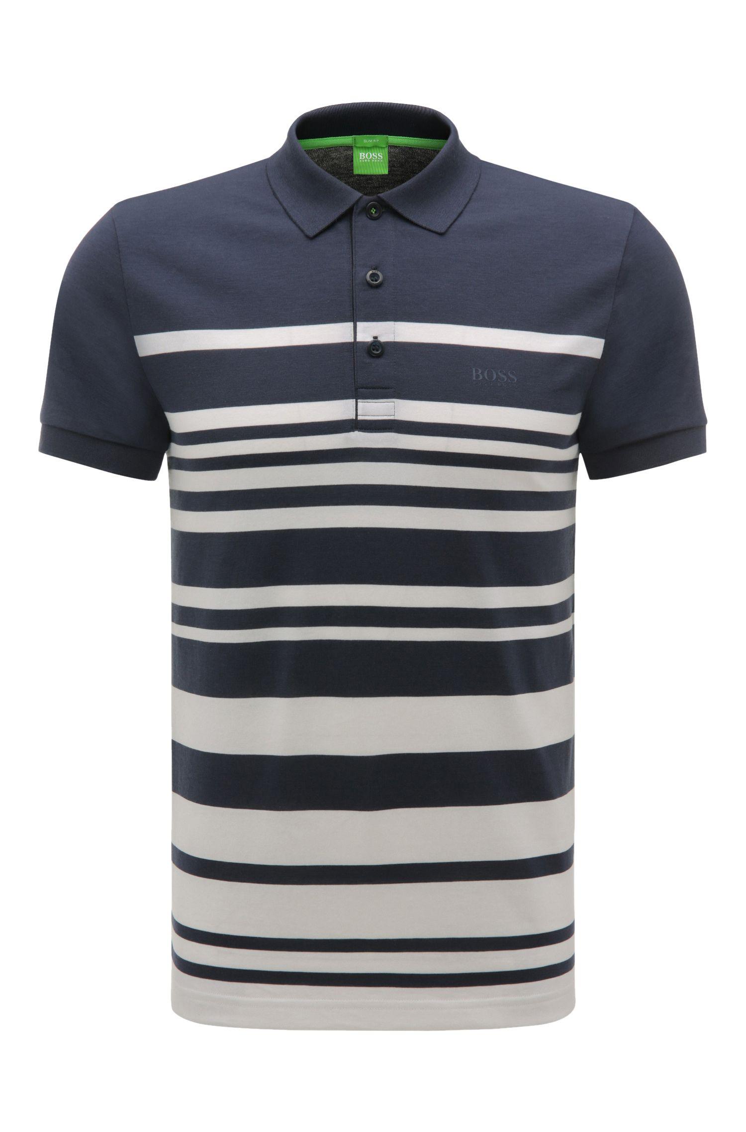 'Paule' | Slim Fit, Cotton Blend Striped Polo