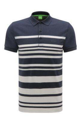 'Paule' | Slim Fit, Cotton Blend Striped Polo, Dark Blue