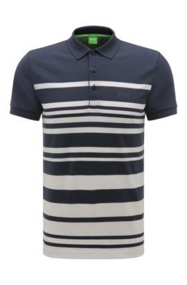 'Paule' | Slim Fit, Cotton Blend Striped Polo, Dark Blue