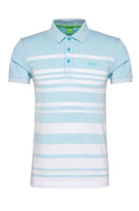 'Paule' | Slim Fit, Cotton Blend Striped Polo, Open Blue