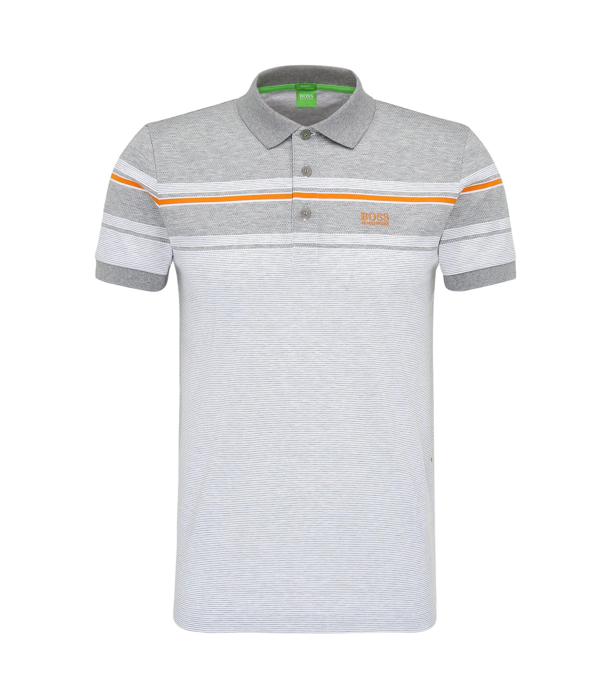 Striped Cotton Polo Shirt, Slim Fit | Paule, White