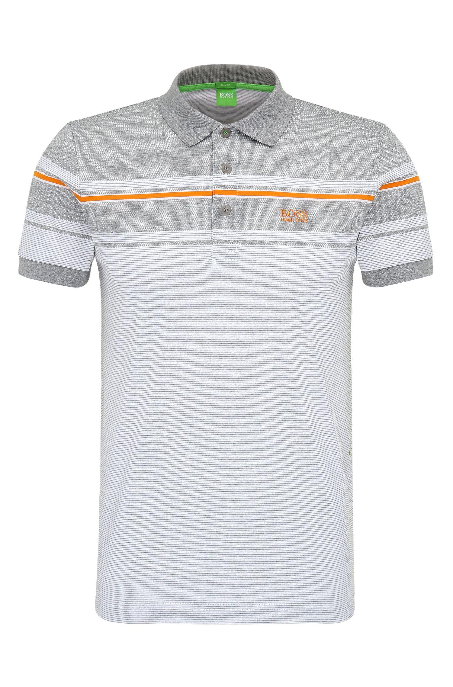 'Paule' | Slim Fit, Striped Cotton Polo Shirt