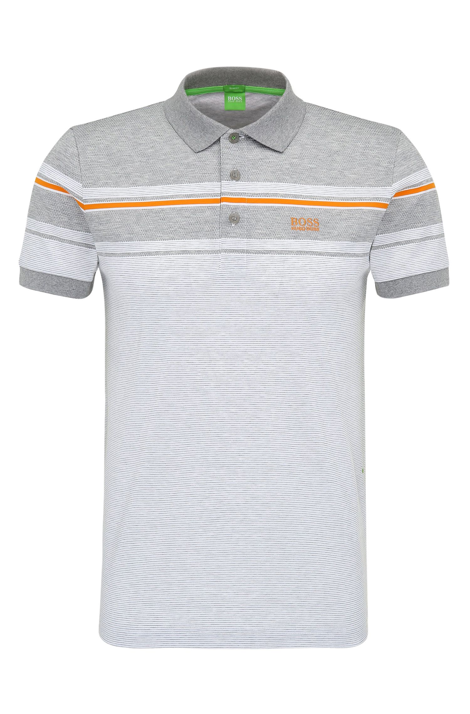 'Paule' | Slim Fit, Striped Cotton Polo Shirt