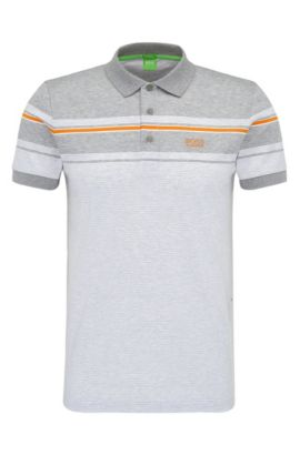 'Paule' | Slim Fit, Striped Cotton Polo Shirt, White