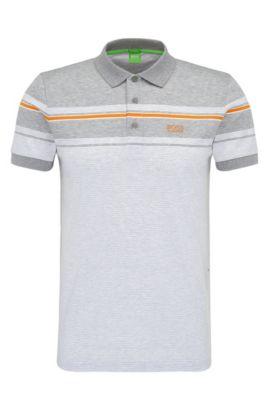'Paule' | Slim Fit, Striped Cotton Polo Shirt, White
