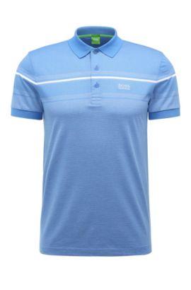 'Paule' | Slim Fit, Striped Cotton Polo Shirt, Blue
