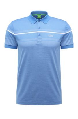 'Paule' | Slim Fit, Striped Cotton Polo Shirt, Blue