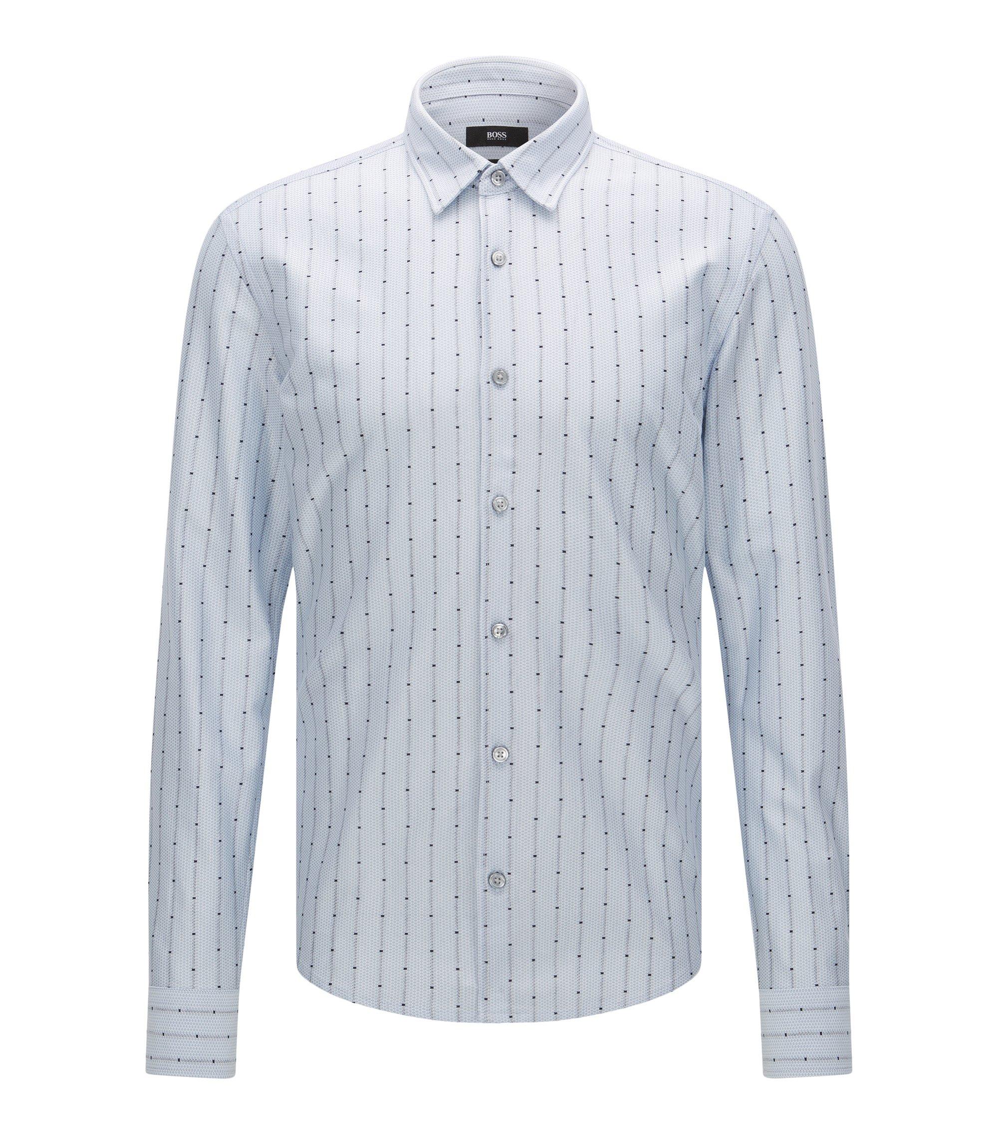 'Reid F' | Slim Fit, Cotton Jersey Button Down Shirt, Light Blue