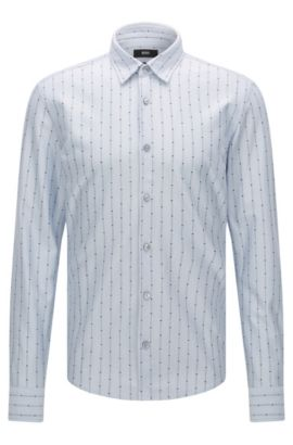 'Reid F' | Slim Fit, Cotton Jersey Button Down Shirt, Light Blue