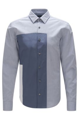'Rodolph' | Slim Fit, Cotton Button Down Shirt, Open Blue
