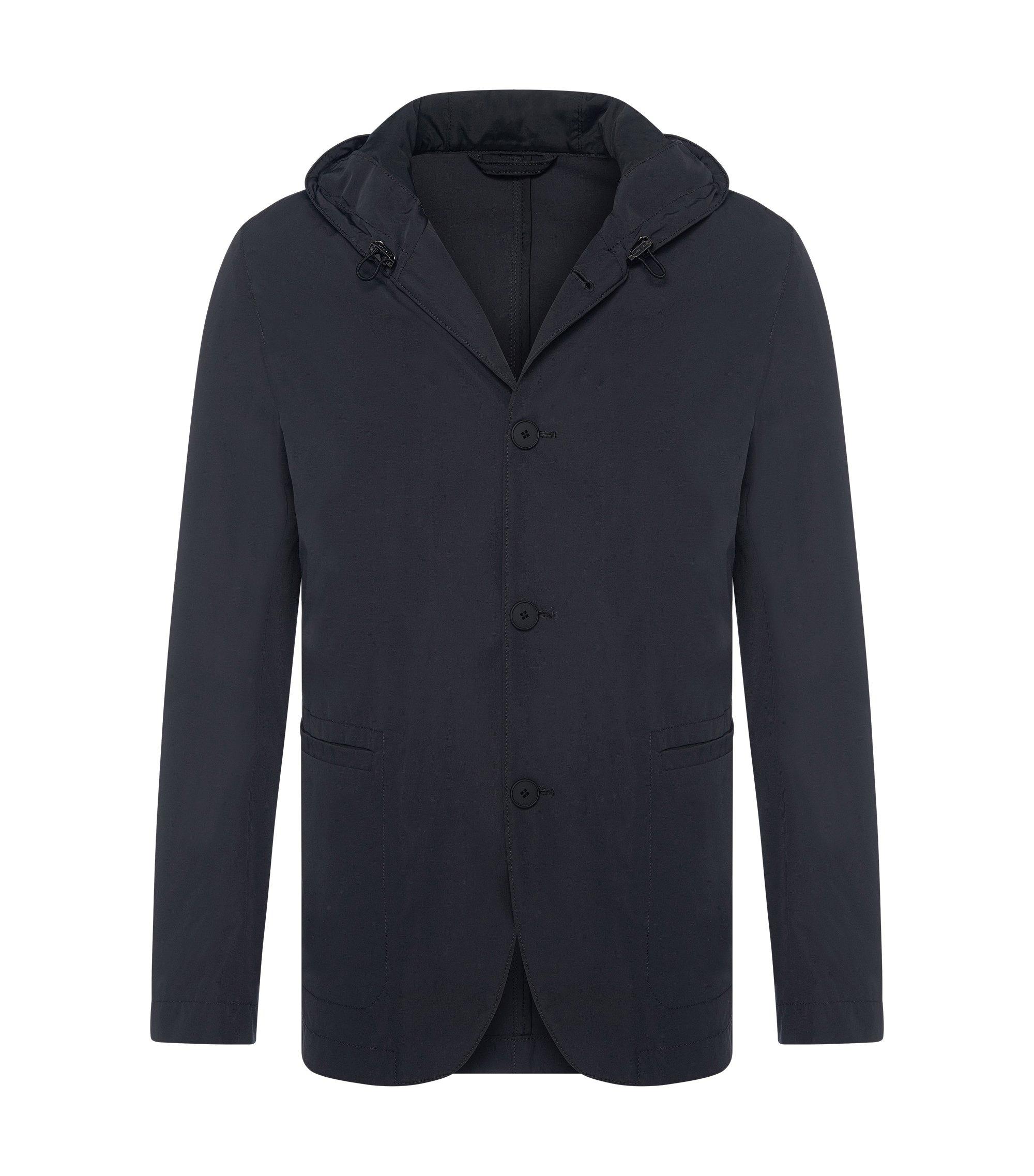 Cotton Blend Hooded Jacket | Josse W, Dark Grey