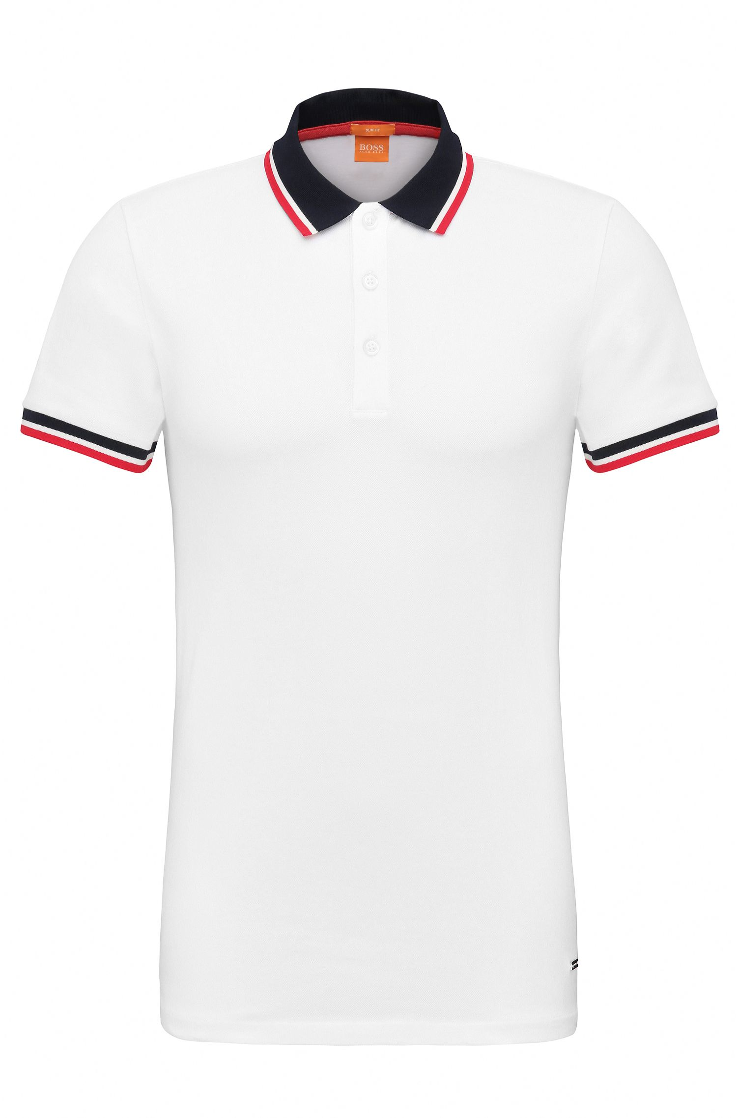 'Pay' | Slim Fit, Stretch Cotton Polo Shirt