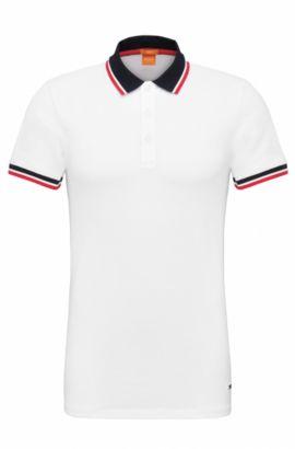 Stretch Cotton Polo Shirt, Slim Fit   Pay, White