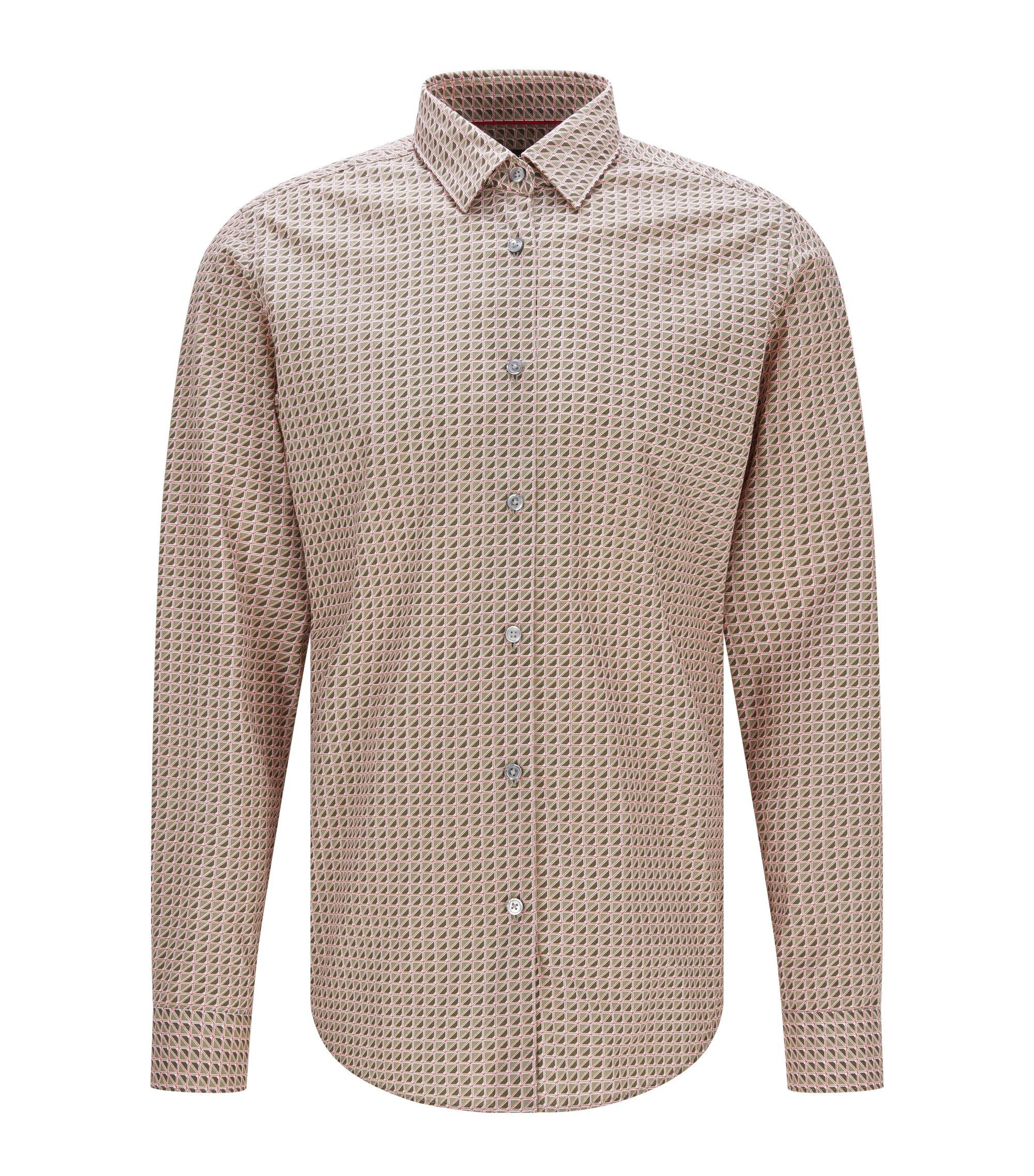 Cotton Button Down Shirt, Regular FIt   Lukas F, Dark Green