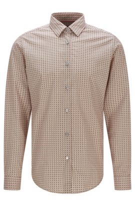 'Lukas F' | Regular Fit, Cotton Button Down Shirt, Dark Green