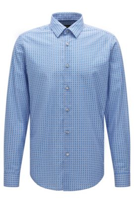 'Lukas F' | Regular Fit, Cotton Button Down Shirt, Blue
