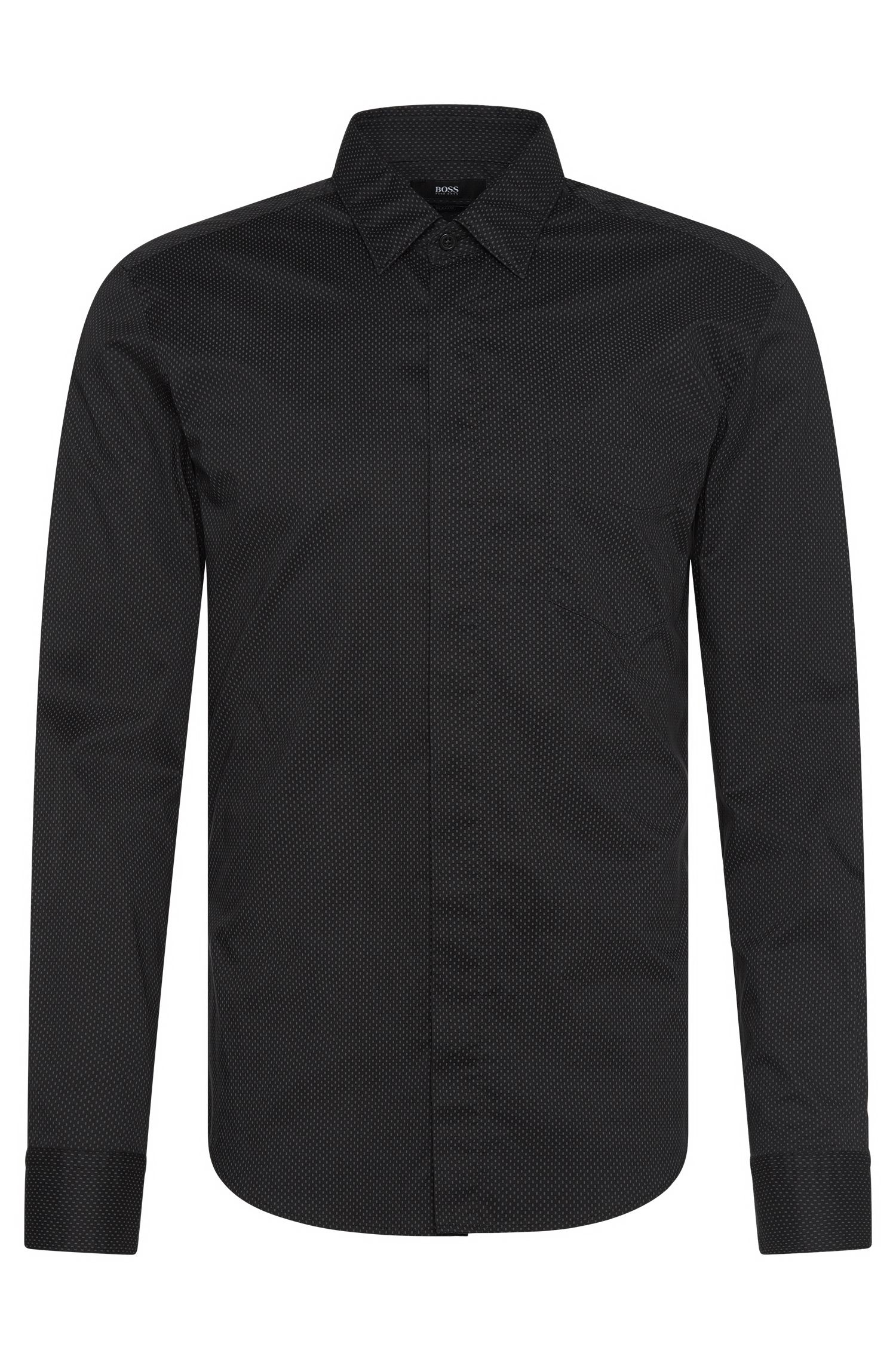 'Reid' | Slim Fit, Stretch cotton Patterned Button Down Shirt