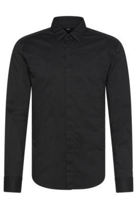 'Reid' | Slim Fit, Stretch cotton Patterned Button Down Shirt, Charcoal