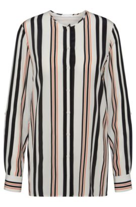 'Relliana' | Silk Striped Blouse, Patterned