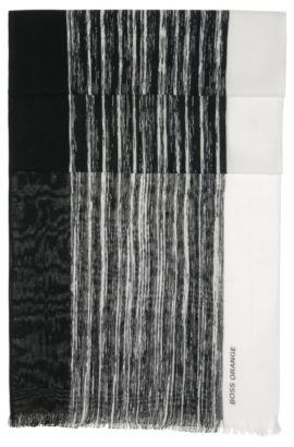 'Nabril'   Cotton Broken Stripe Scarf, Black