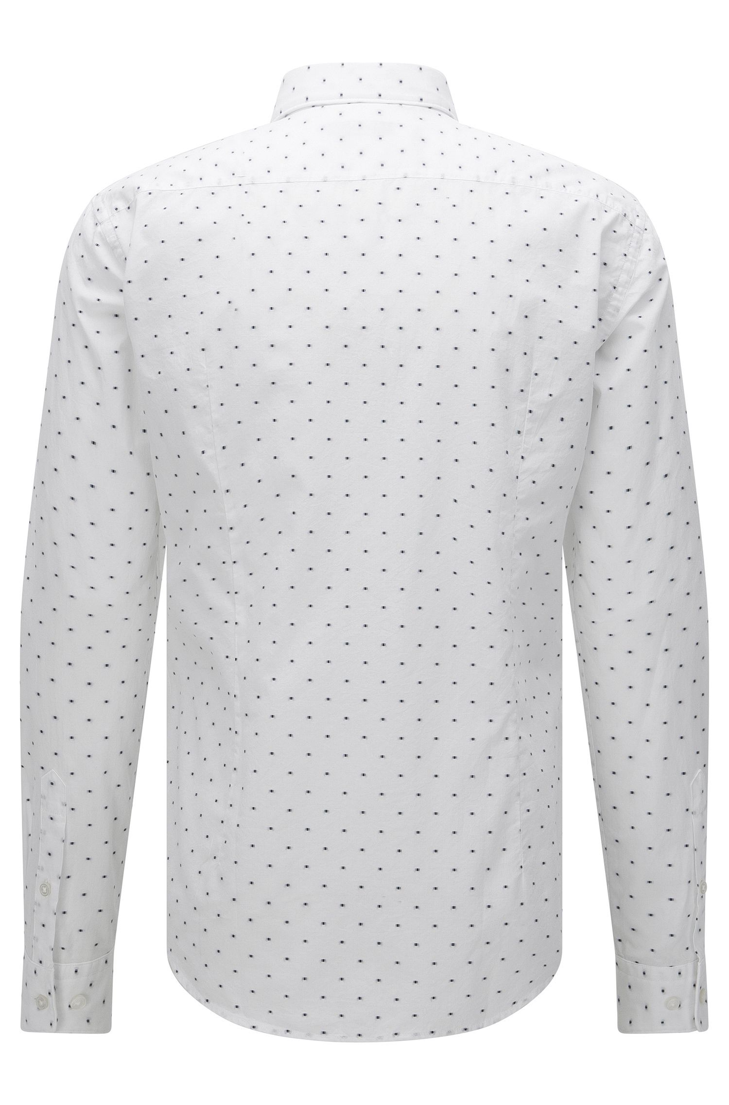 'Ridley'   Slim Fit, Cotton Embroidered Button Down Shirt, White