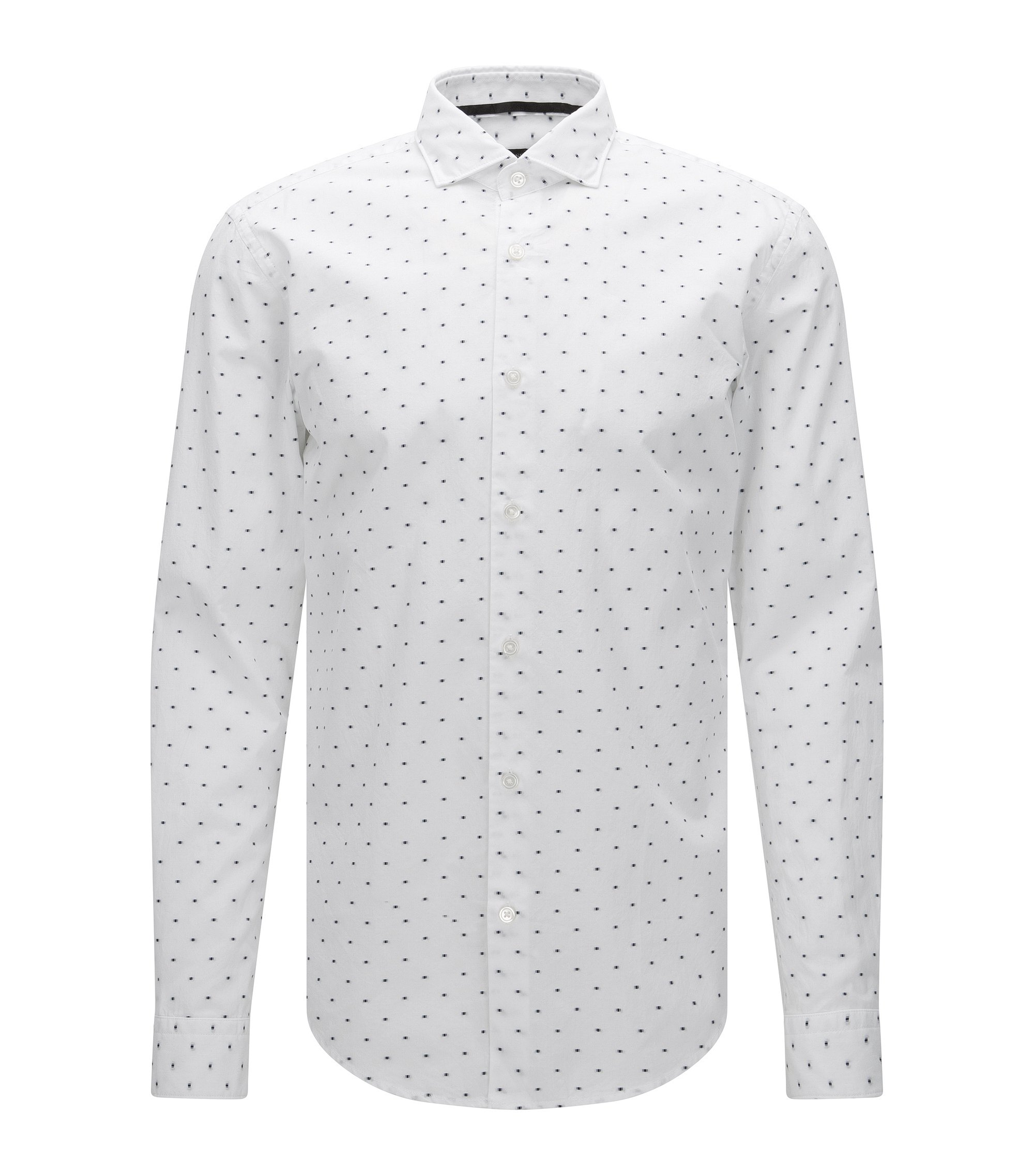'Ridley' | Slim Fit, Cotton Embroidered Button Down Shirt, White