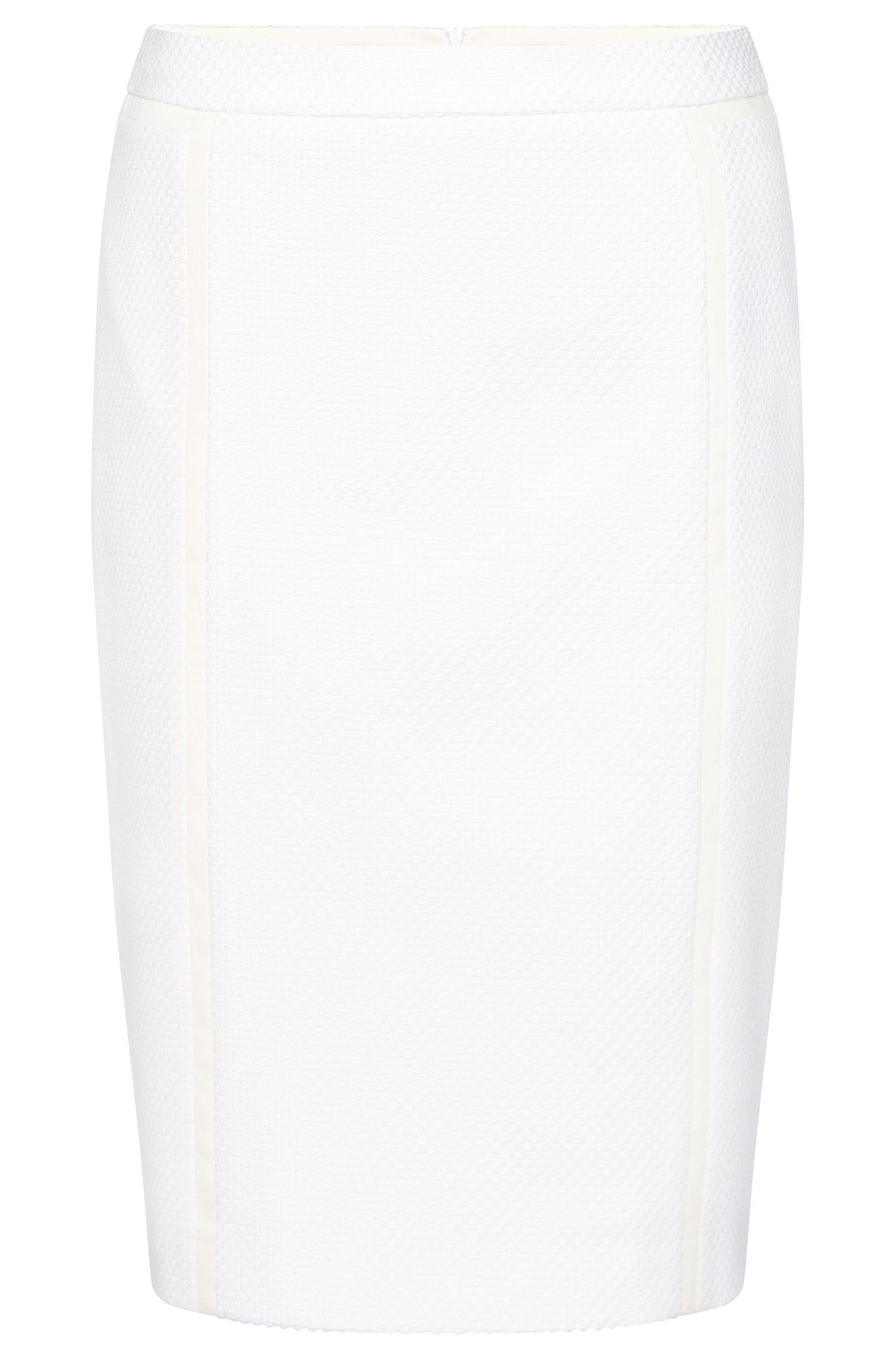 'Vaebina' | Stretch Cotton Blend Textured Pencil Skirt