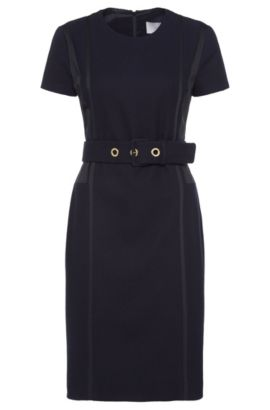 'Daebina' | Stretch Cotton Blend Textured Sheath Dress, Open Blue