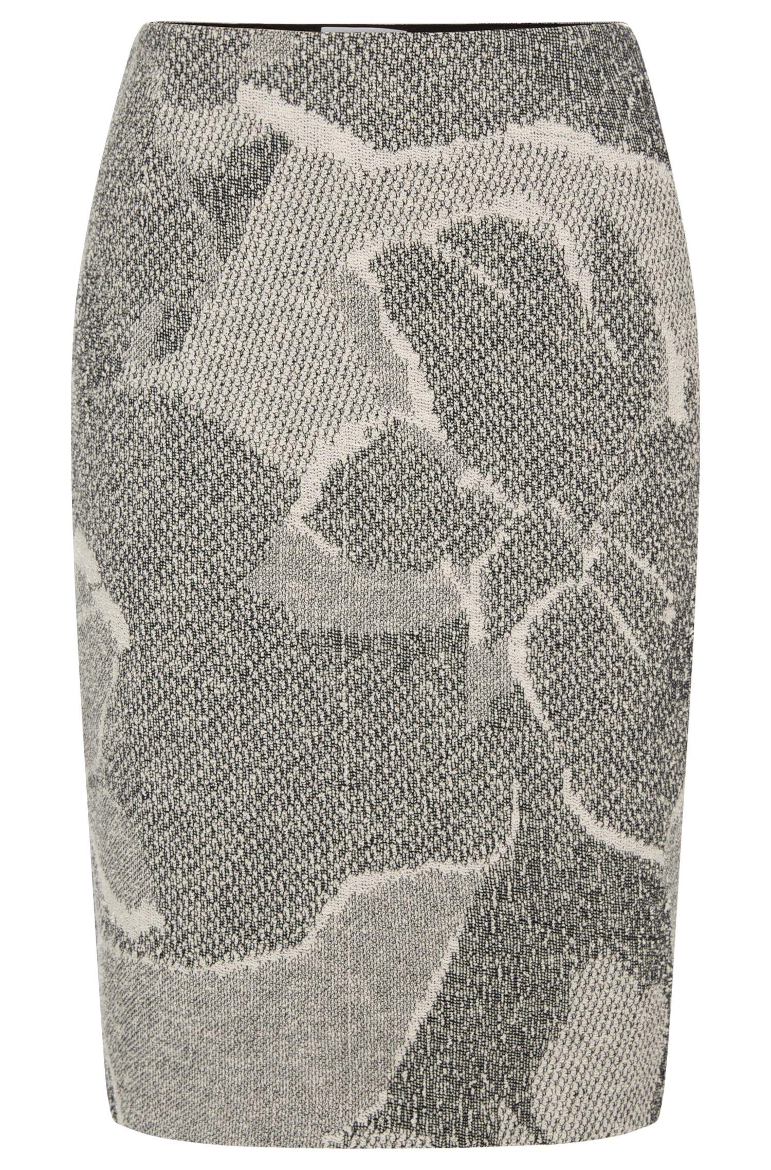 'Marala'   Cotton Blend Jacquard Floral Boucle Skirt