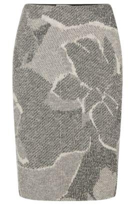 'Marala' | Cotton Blend Jacquard Floral Boucle Skirt, Patterned