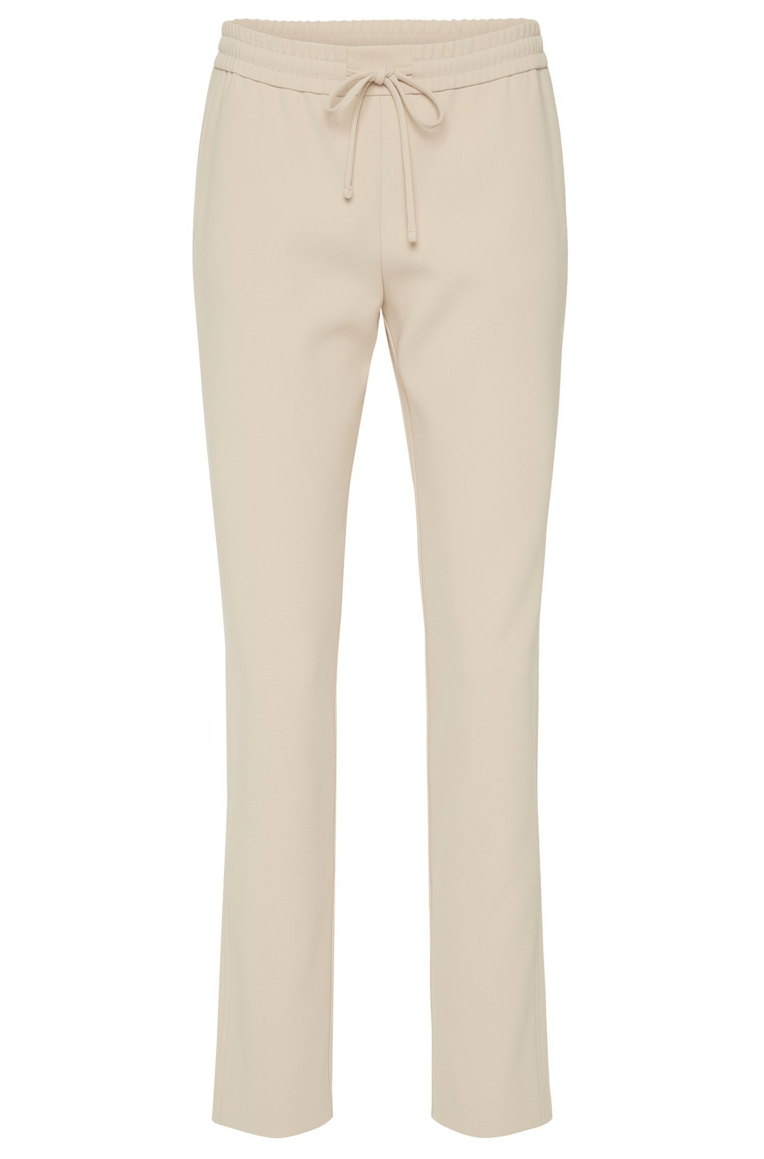 'Aryna' | Plain trousers in a material blend with drawstring waistband