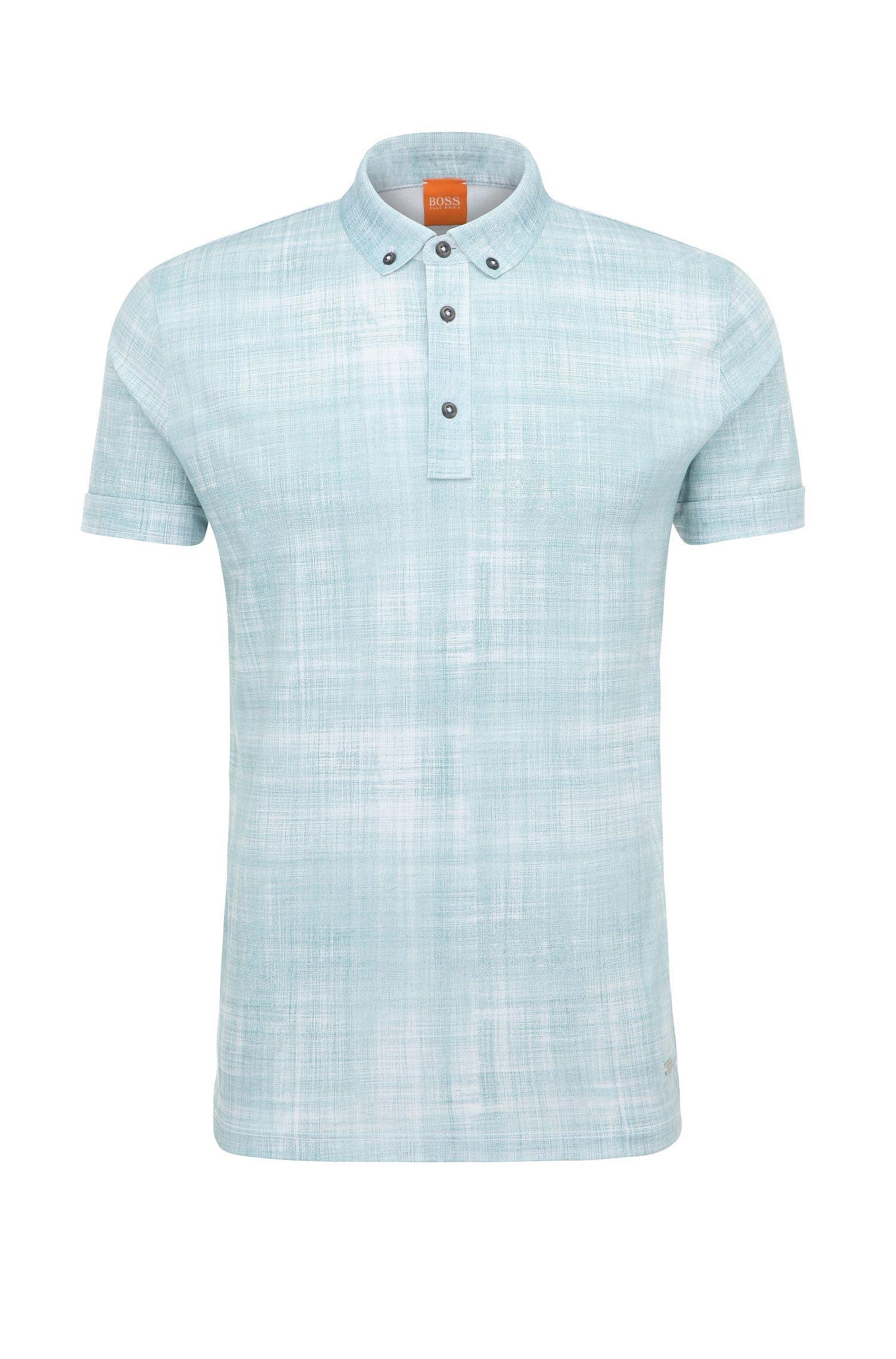 'Porcher' | Slim Fit, Cotton Printed Polo Shirt