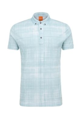 'Porcher' | Slim Fit, Cotton Printed Polo Shirt, Natural