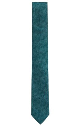 Printed Italian Silk Slim Tie, Green