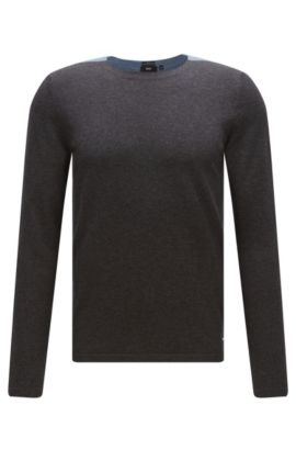 'Onzo' | Cotton Silk Cashmere Colorblocked Sweater, Open Blue