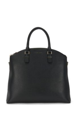 'Luxury S. Bugatti' | Leather Grained Shopper Handbag, Detachable Shoulder Strap, Black