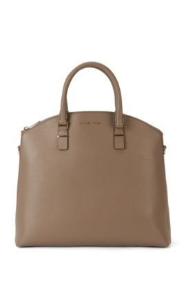 'Luxury S. Bugatti' | Leather Grained Shopper Handbag, Detachable Shoulder Strap, Khaki