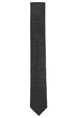 Embroidered Italian Silk Tie, Slim | Tie 6 cm, Black