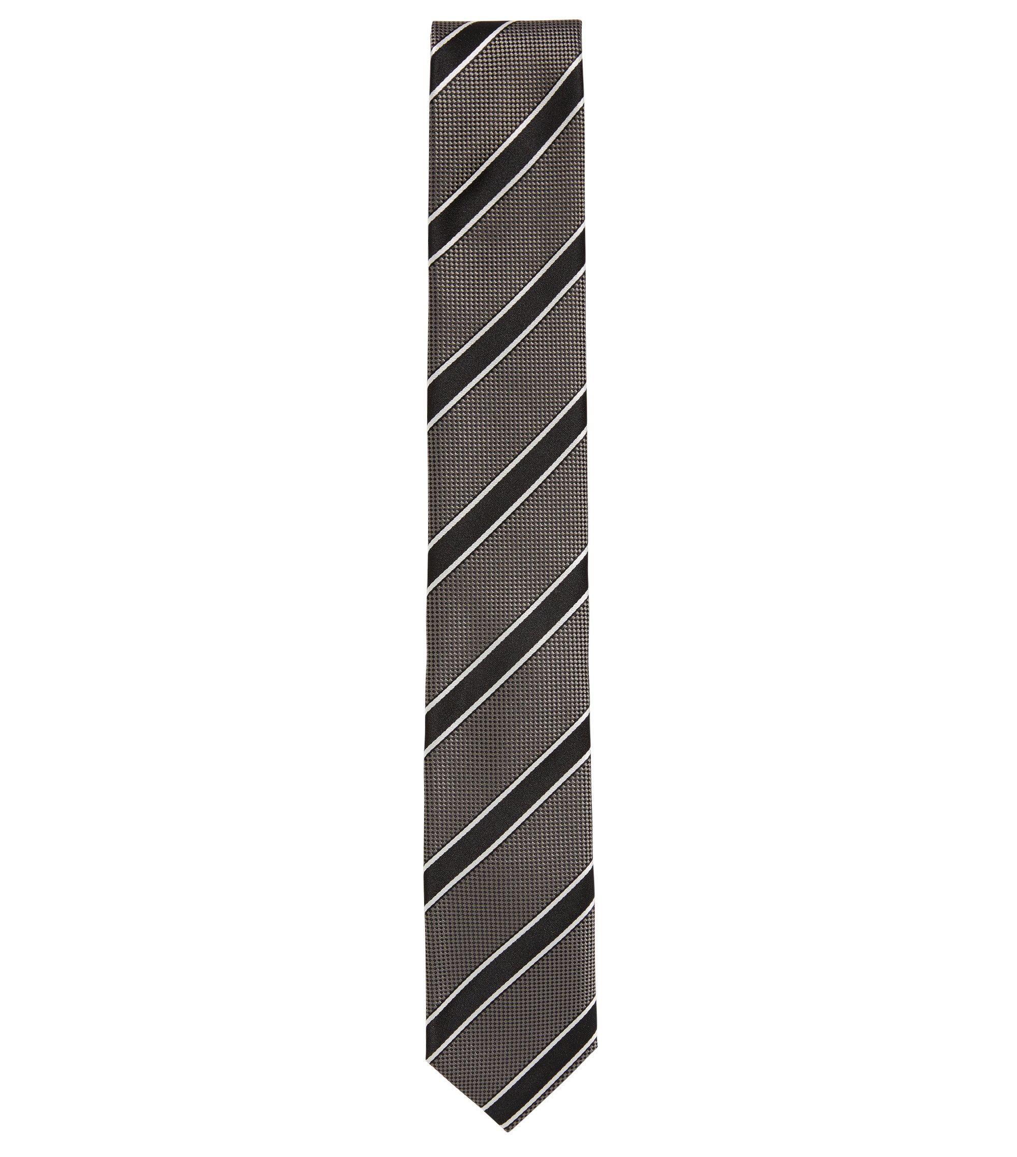 Striped Italian Silk Slim Tie, Grey