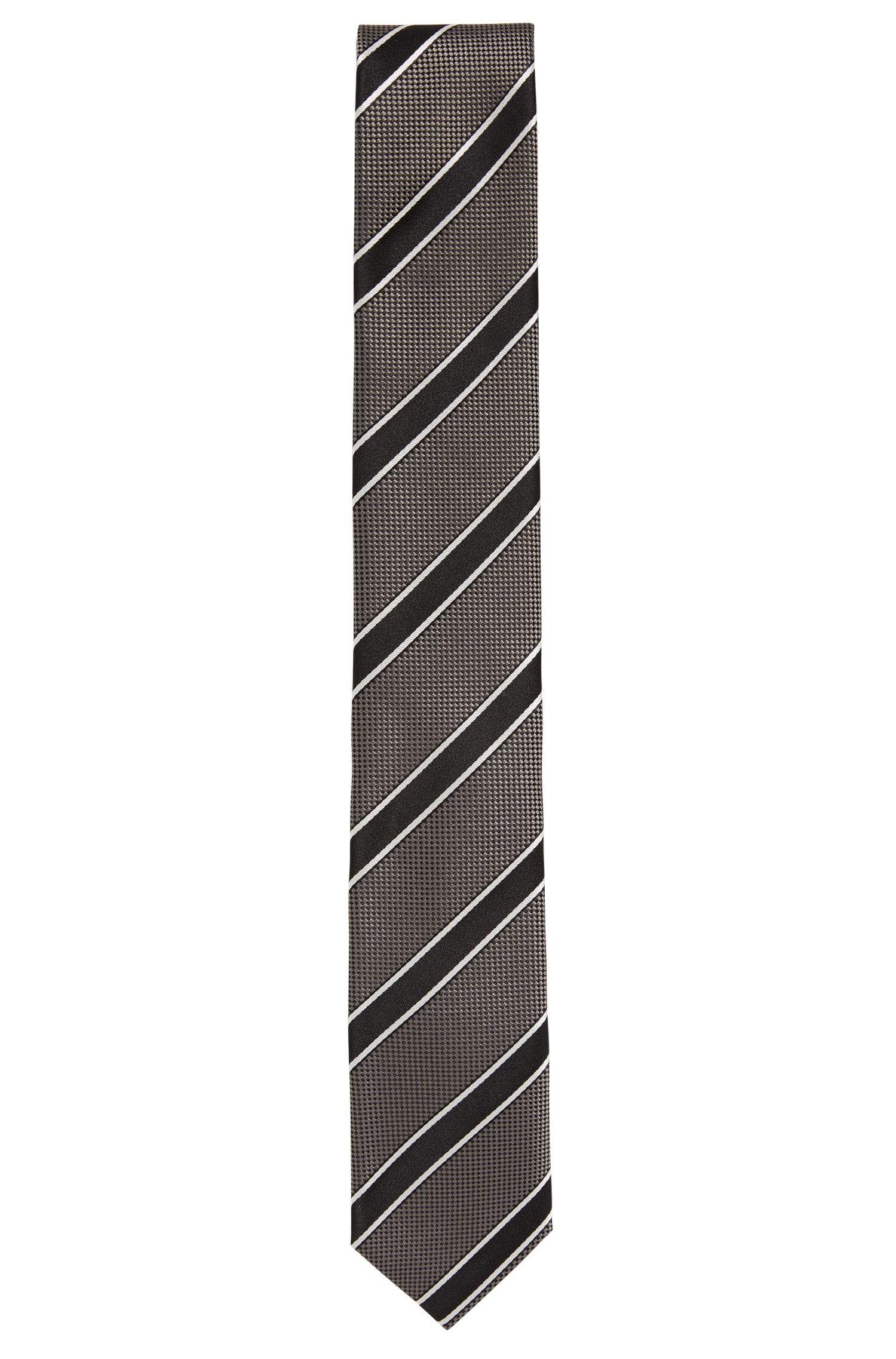 Striped Italian Silk Slim Tie, Grey