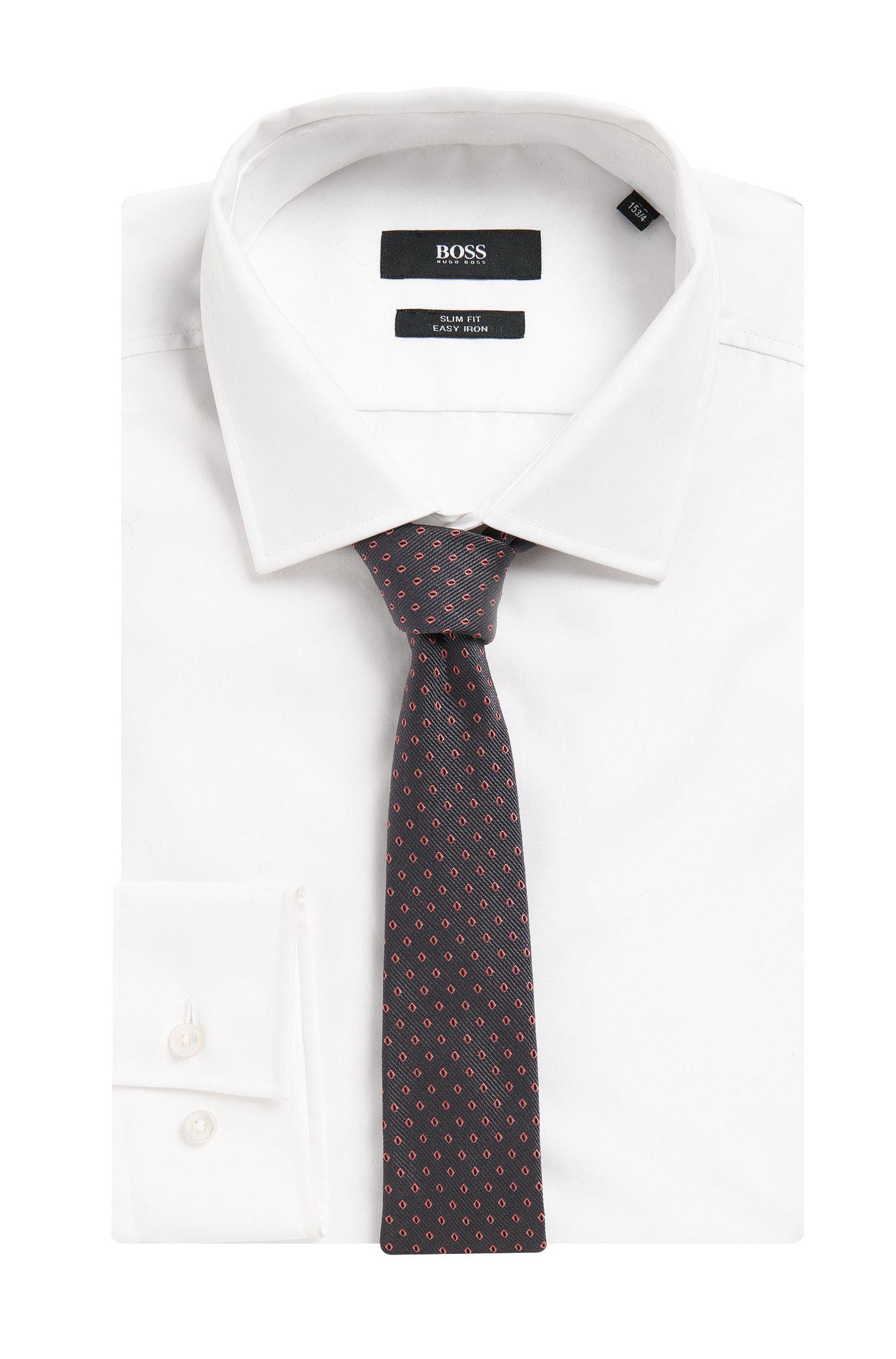 Embroidered Italian Silk Slim Tie, Grey