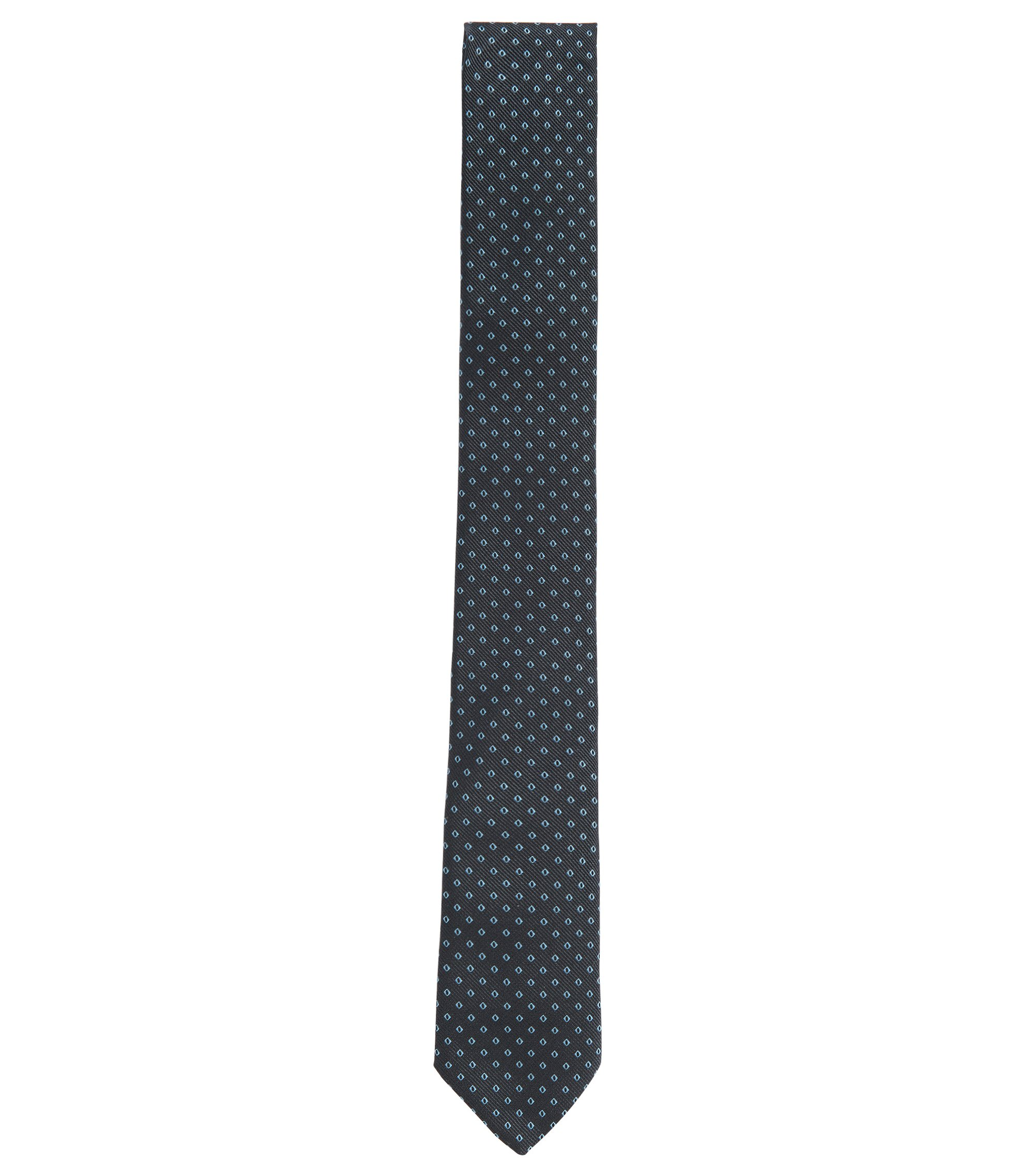 Embroidered Italian Silk Slim Tie, Open Blue