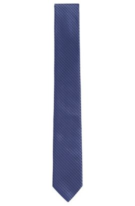 Diamond Embroidered Silk Tie, Slim | Tie 6 cm, Blue