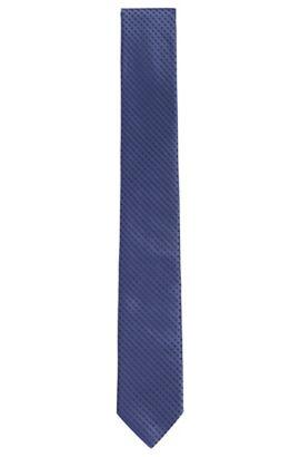 Diamond Embroidered Silk Tie, Slim | Tie 6 cm, Blue