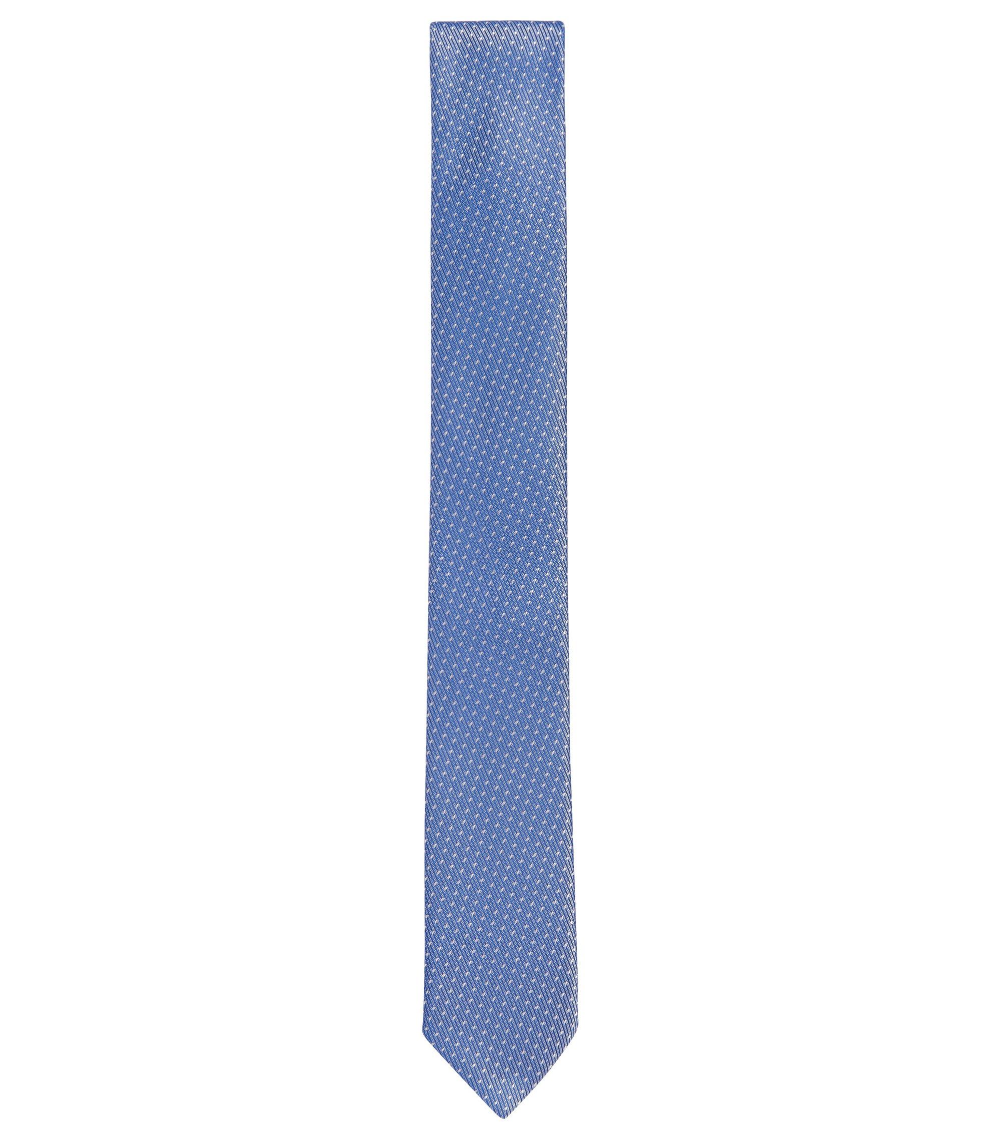 Embroidered Silk Tie, Slim | Tie 6 cm, Blue