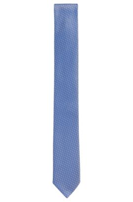 Embroidered Silk Tie, Slim | Tie 6 cm, Blue