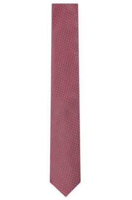 Embroidered Silk Tie, Slim | Tie 6 cm, Pink
